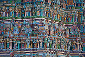 colorful reliefs of Hindu gods