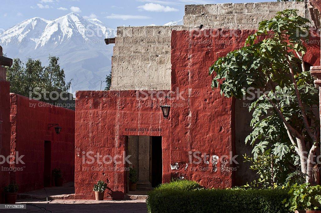 Colorful Religious Mini City Santa Catalina Monastery, Arequipa, Peru stock photo