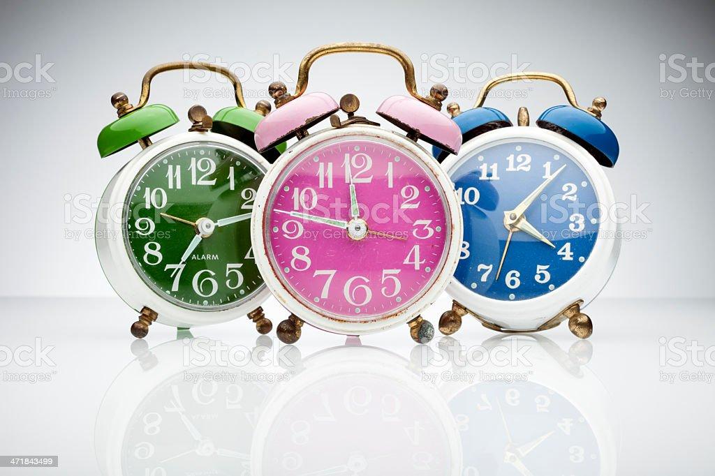 Colorful retro alarm clocks royalty-free stock photo