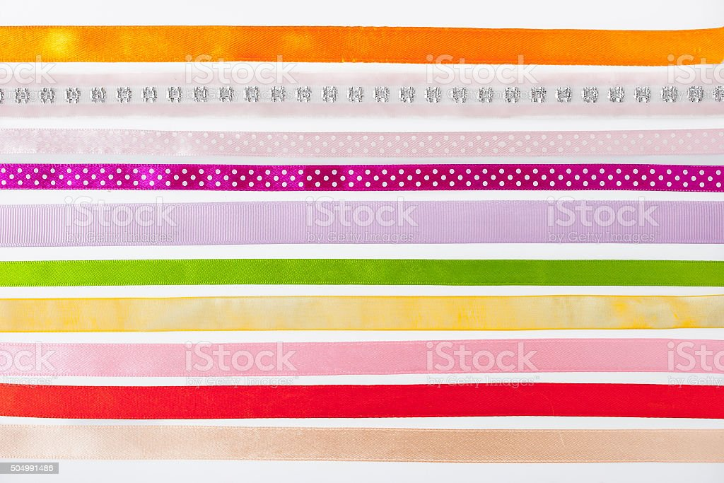 Colorful ribbons horizontal on the white background stock photo
