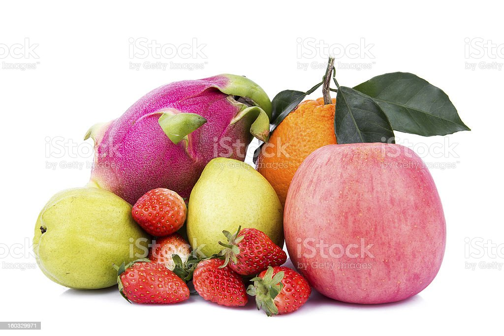 colorful ripe fruit composition isolated on white royalty-free stock photo