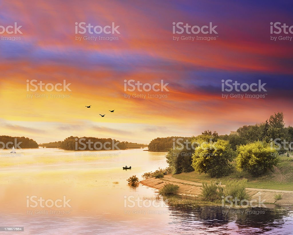 Colorful river scape royalty-free stock photo