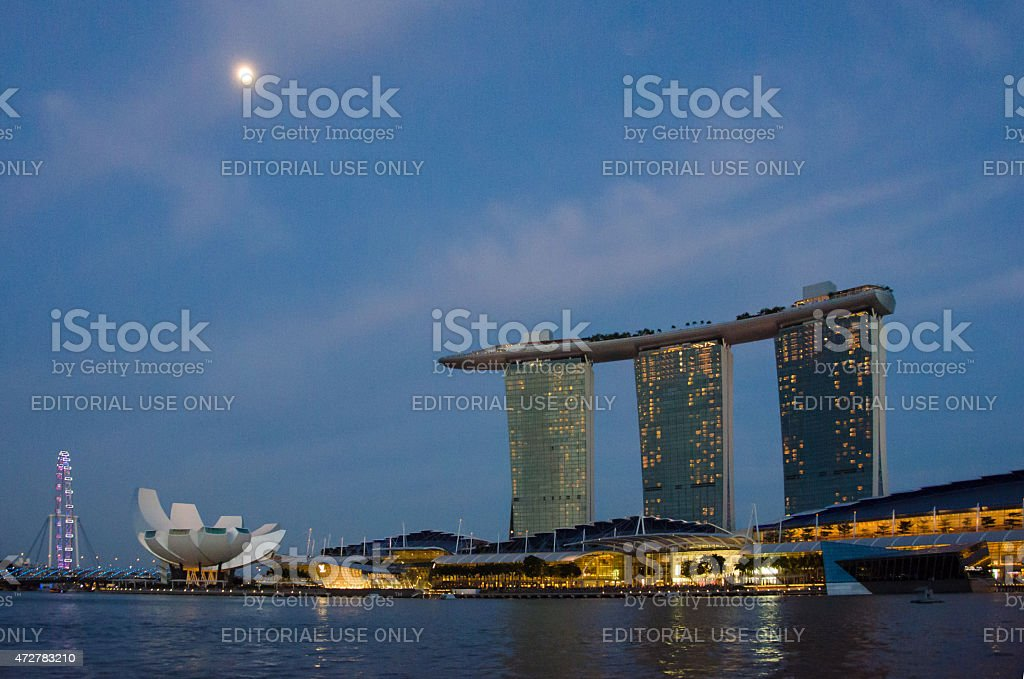 Colorful riverboat cruises in the Singapore harbor stock photo