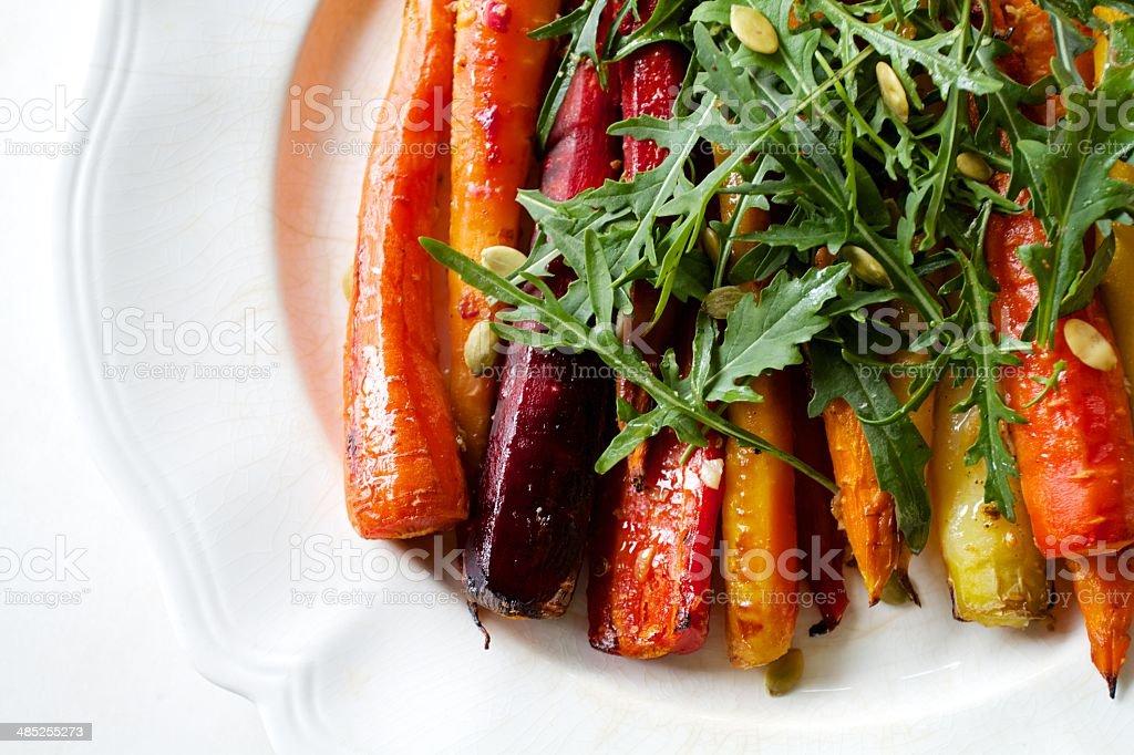 Colorful Roasted Rainbow Carrot Salad stock photo