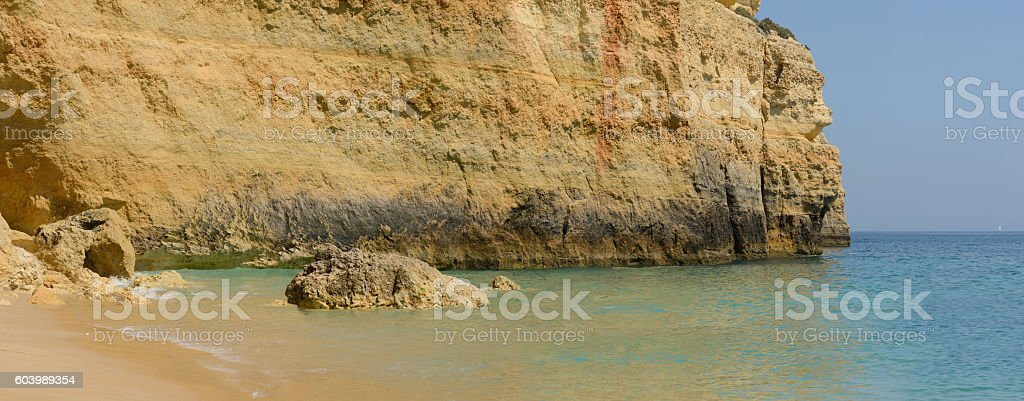 Colorful rocks on ocean, panorama stock photo