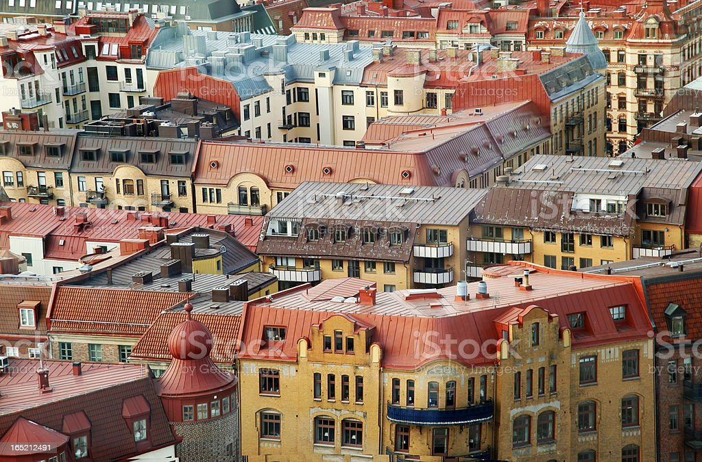 Colorful roofs of Gothenburg Sweden royalty-free stock photo