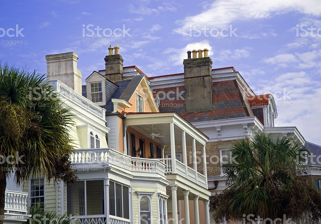 Colorful Rooftops and Porches in Charleston, SC royalty-free stock photo