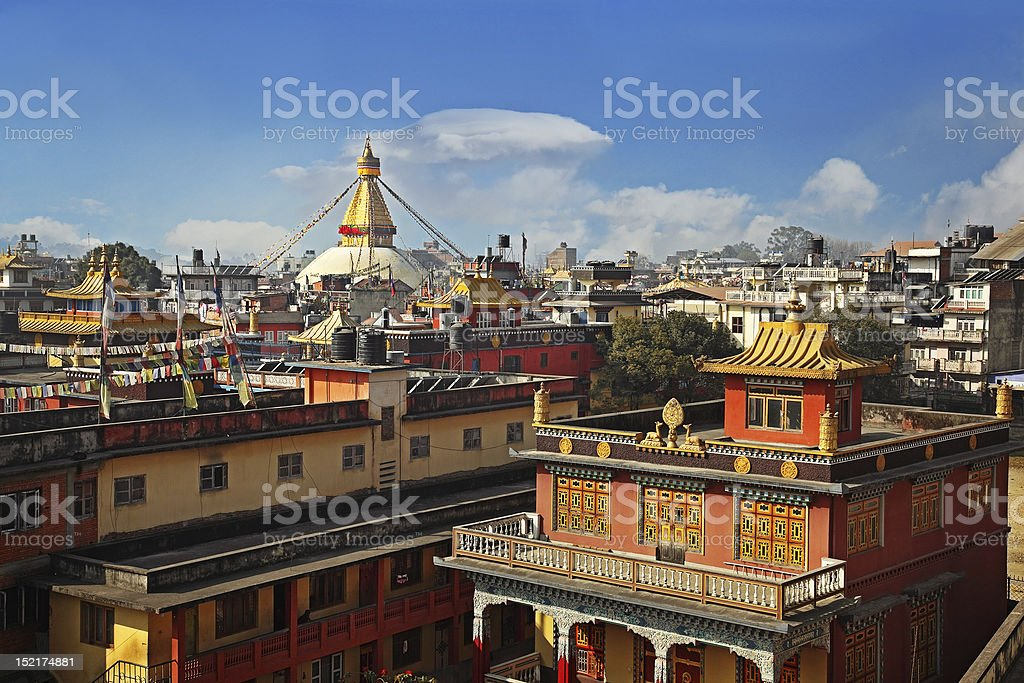 Colorful rooftops of Kathmandu stock photo