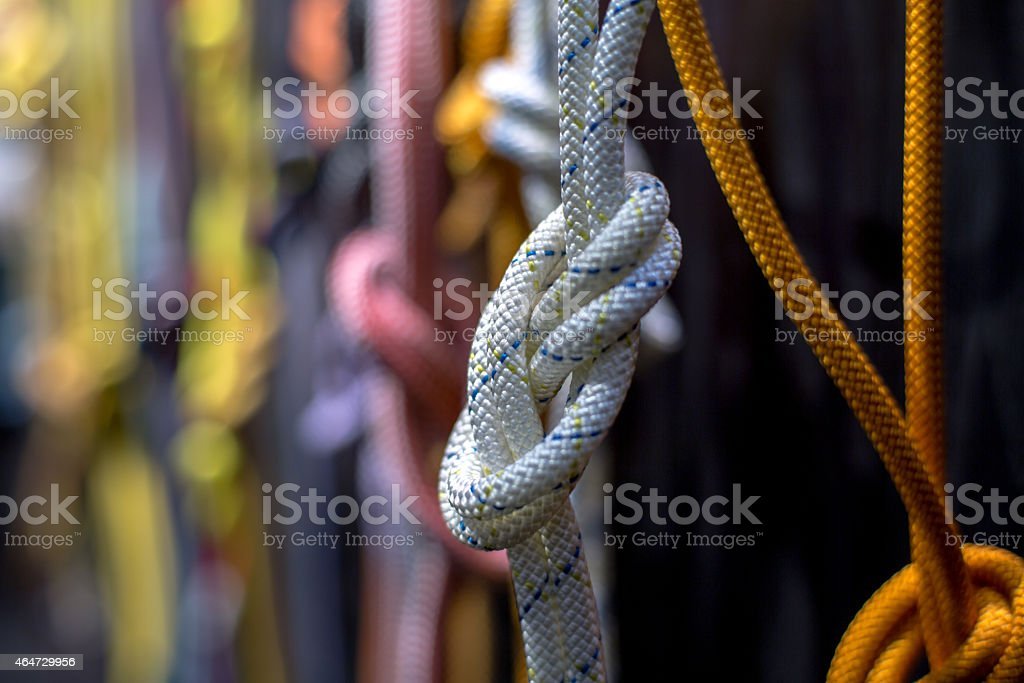 colorful ropes and knots stock photo