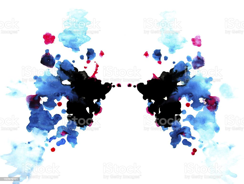 colorful Rorschach test: symmetric painting stock photo