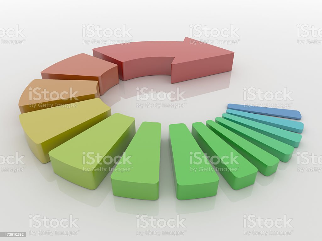 Colorful Round Arrow Steps, Processing Concept stock photo