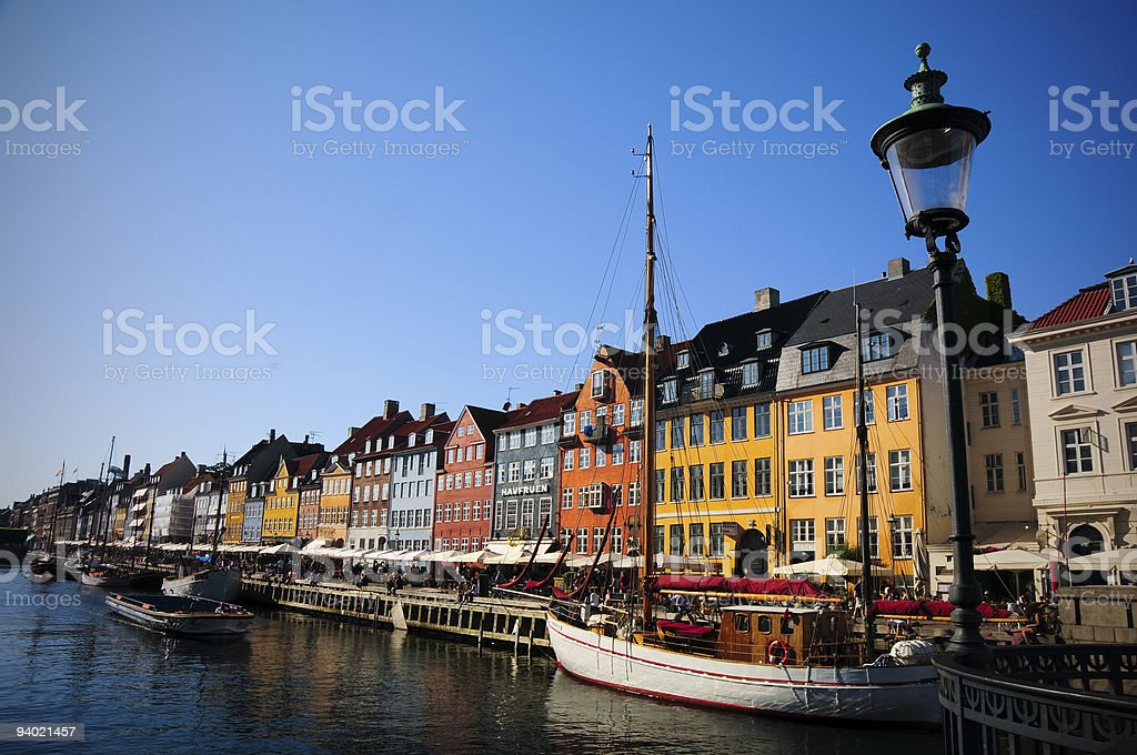 Colorful row buildings on the harbor of Nyhavn, Copenhagen royalty-free stock photo