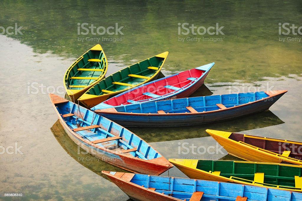 Colorful Rowing Boats at Phewa Lake Pokhara Nepal stock photo