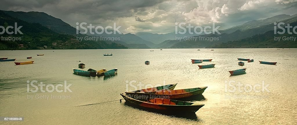 Colorful rowing boats stock photo
