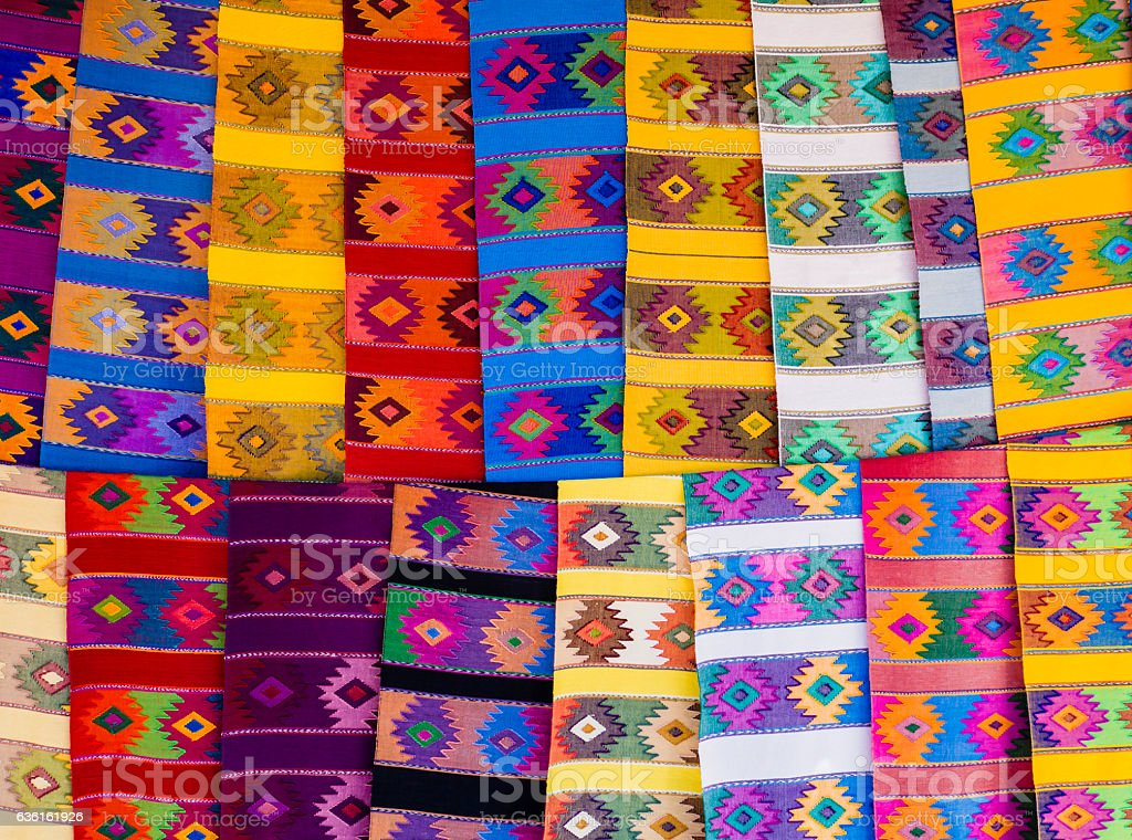 Colorful runner tablecloths with geometric shapes stock photo