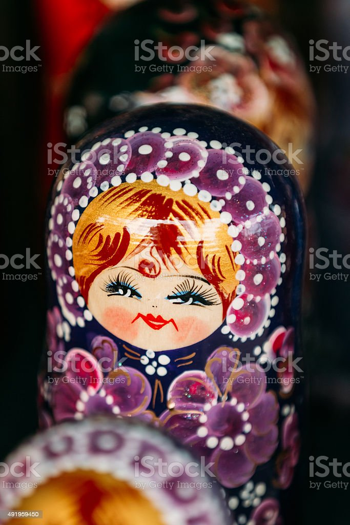 Colorful Russian Nesting Doll Matreshka At Market. stock photo
