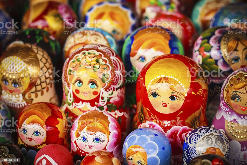 Colorful Russian nesting dolls at the market stock photo