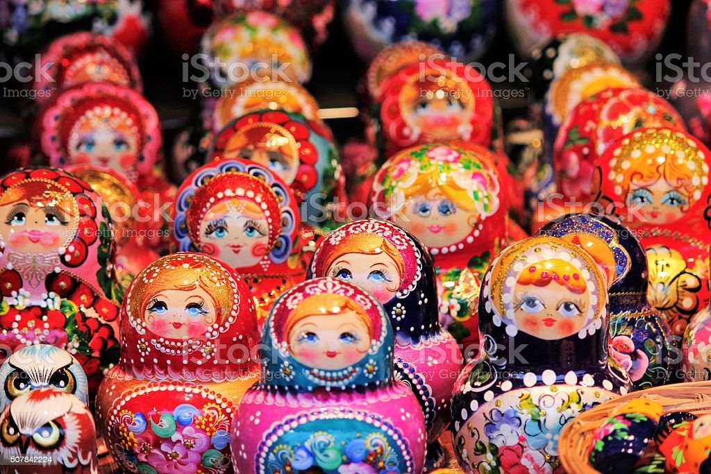 Colorful Russian nesting dolls at the market. stock photo