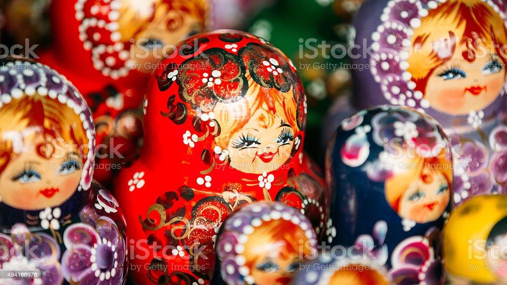 Colorful Russian Nesting Dolls Matreshka At Market. stock photo
