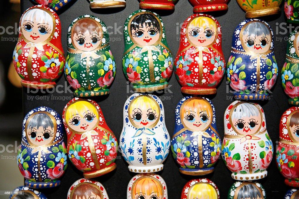Colorful russian nesting dolls matreshka fridge magnets stock photo