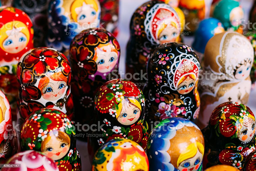 Colorful Russian Nesting Dolls Matreshka Matrioshka At Market stock photo