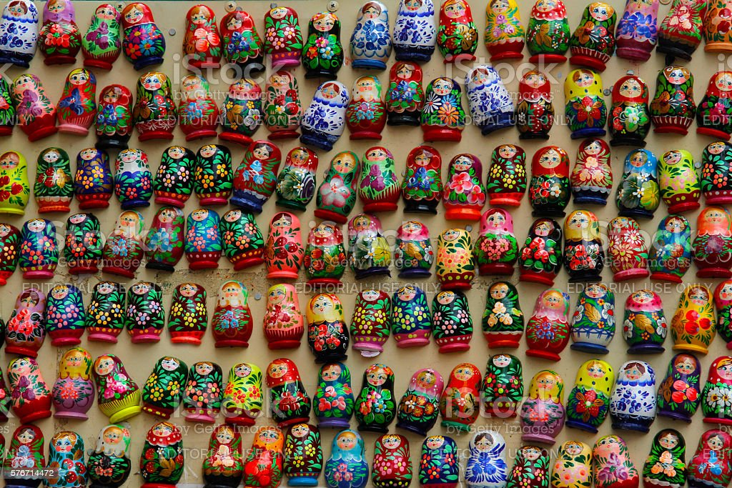 Colorful russian nesting dolls matryoshka in the form of magnets stock photo