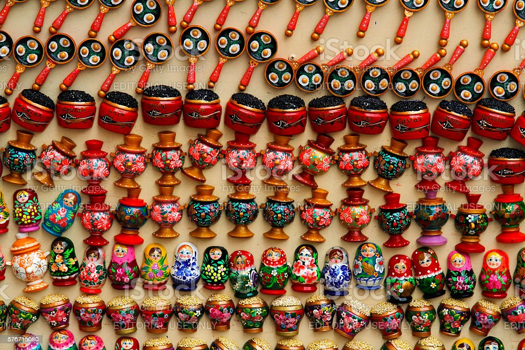 Colorful russian souvenirs in the form of magnets stock photo