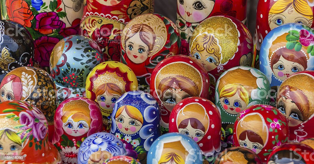 Colorful russian wooden dolls royalty-free stock photo