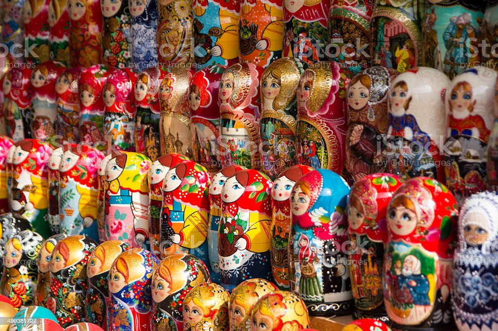 Colorful russion dolls royalty-free stock photo