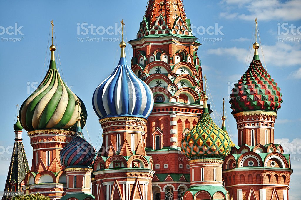 Colorful Saint Basils cathedral on Red Square in Moscow stock photo