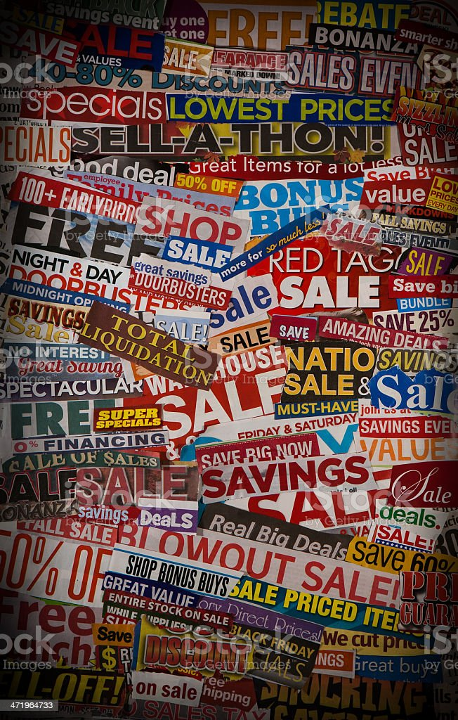 Colorful SALES events newspaper collage stock photo