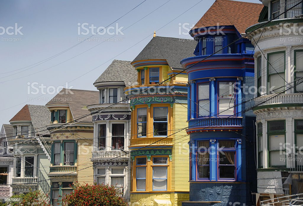 Colorful San Francisco Victorian Houses stock photo