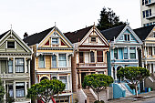 Colorful San Francisco Victorian on a Overcast Day