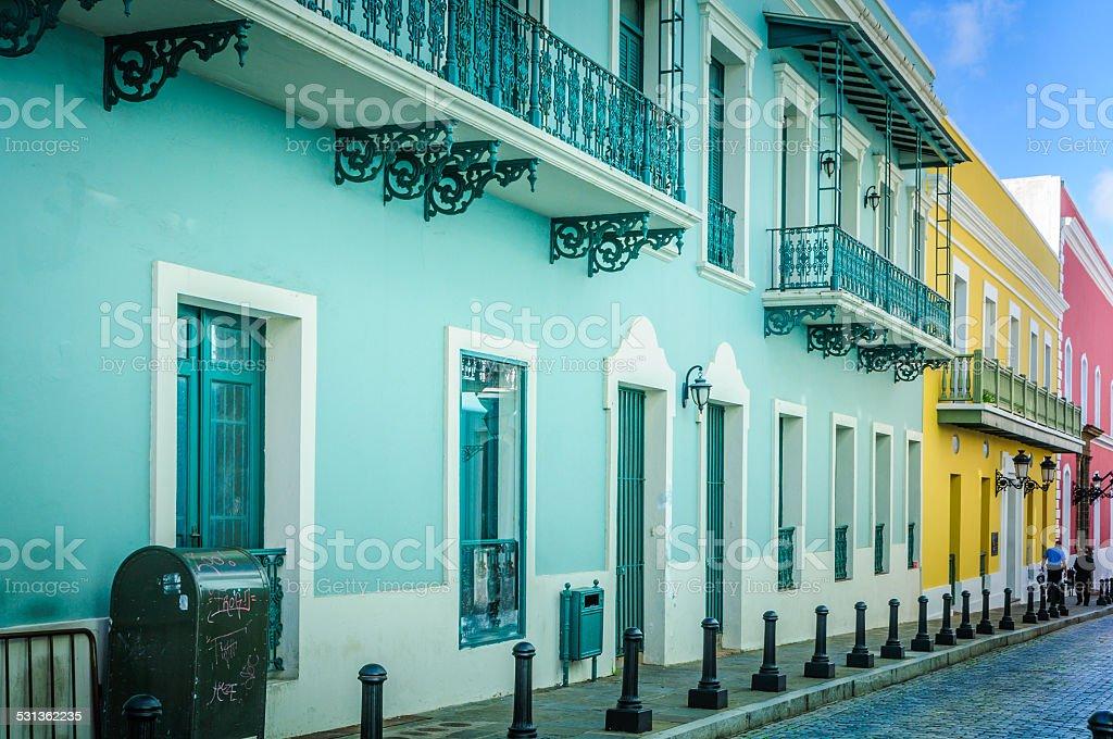Colorful San Juan Sidewalk stock photo