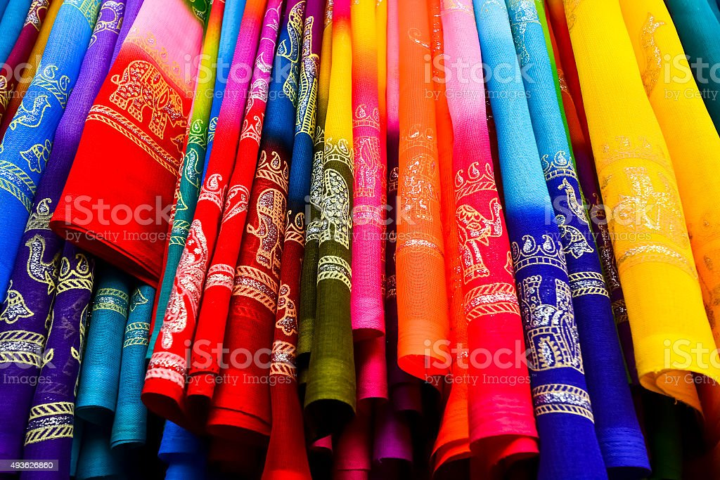 Colorful Saree (Sari) background stock photo