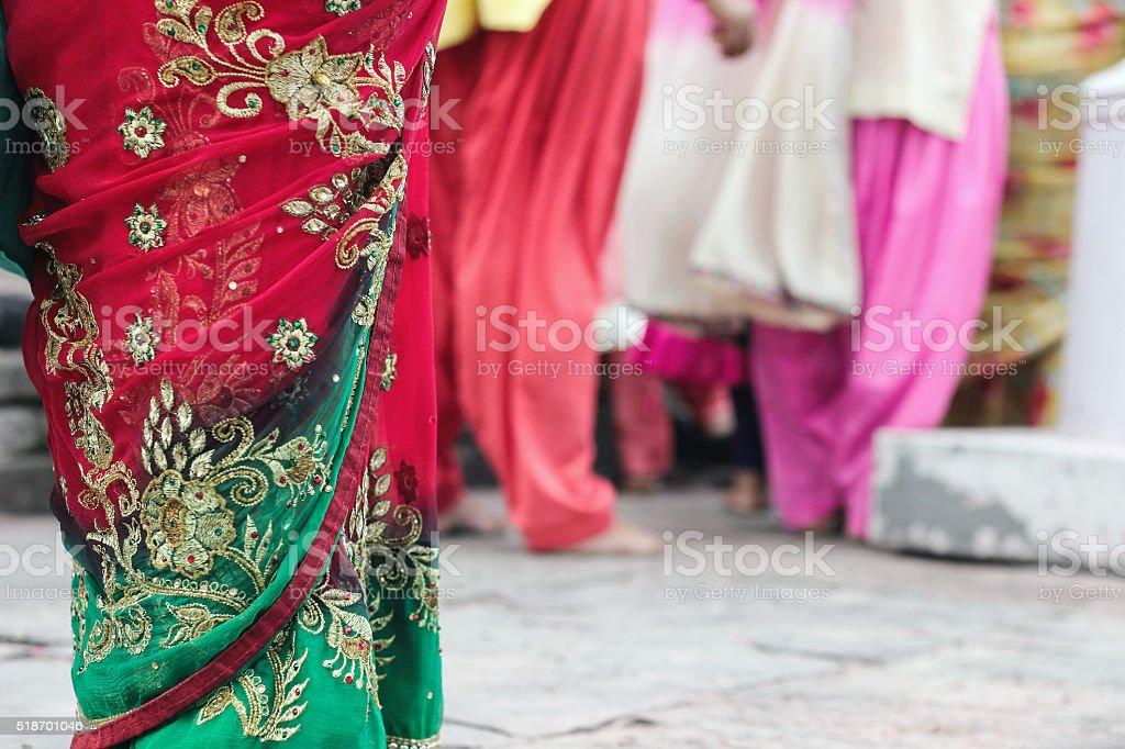 colorful sari dresses stock photo