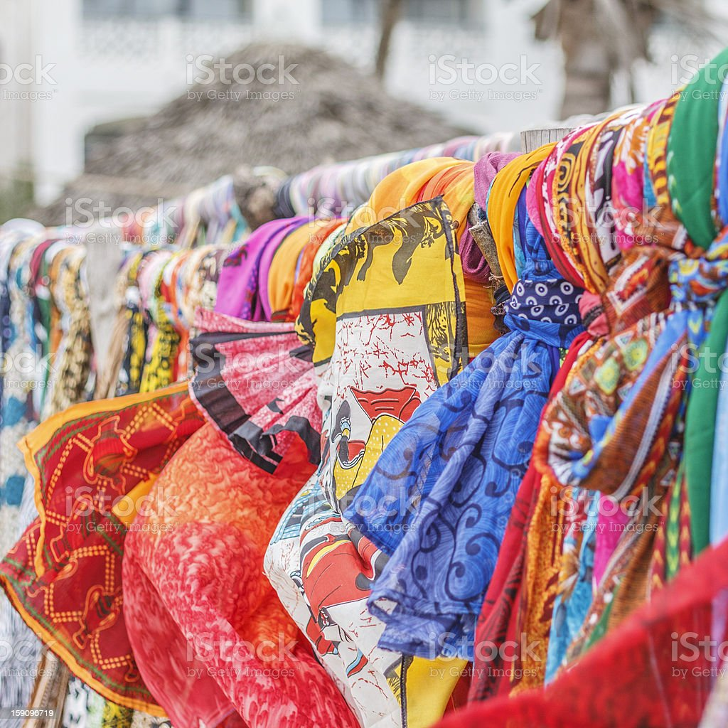 Colorful sarongs shop. stock photo
