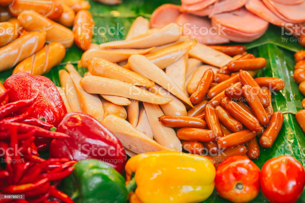 Colorful sausage, Meat product food danger from borax and coloring stock photo