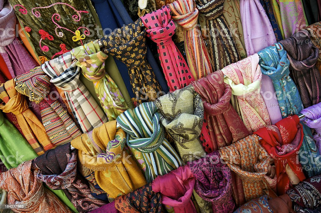 Colorful Scarves Bright Patterns Full Frame Close Up royalty-free stock photo