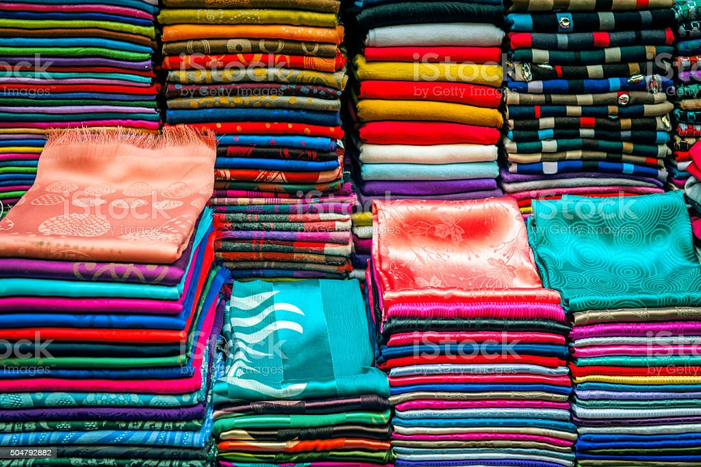 Colorful Scarves, Medina, Fez, Morocco North Africa stock photo