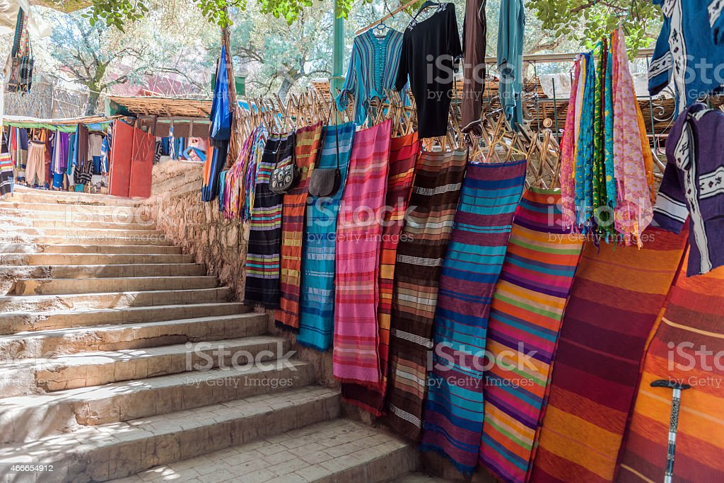 Colorful Scarves-traditional dress at the street market, Ouzoud, Morocco stock photo