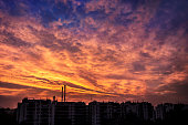 Colorful scattered clouds at sunrise - dramatic sky