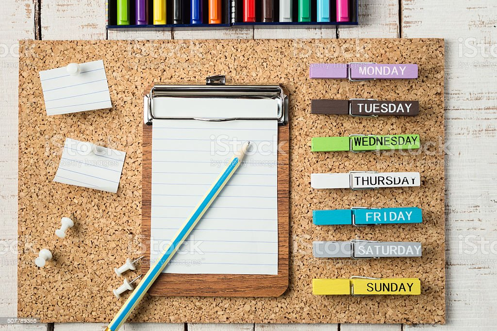 colorful school and office stationery stock photo