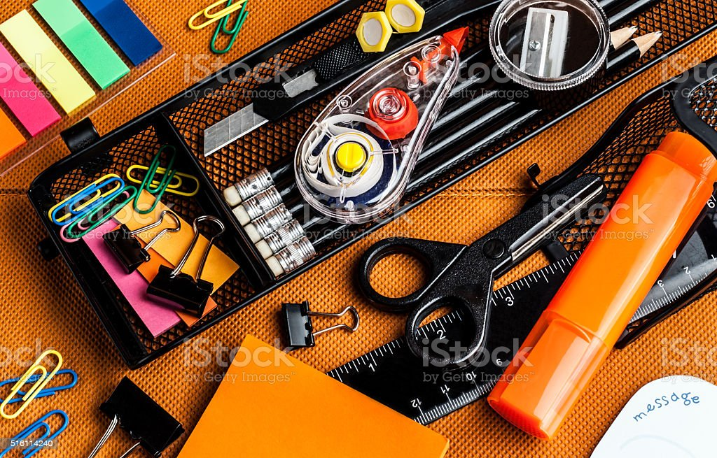 colorful school and office supplies stock photo