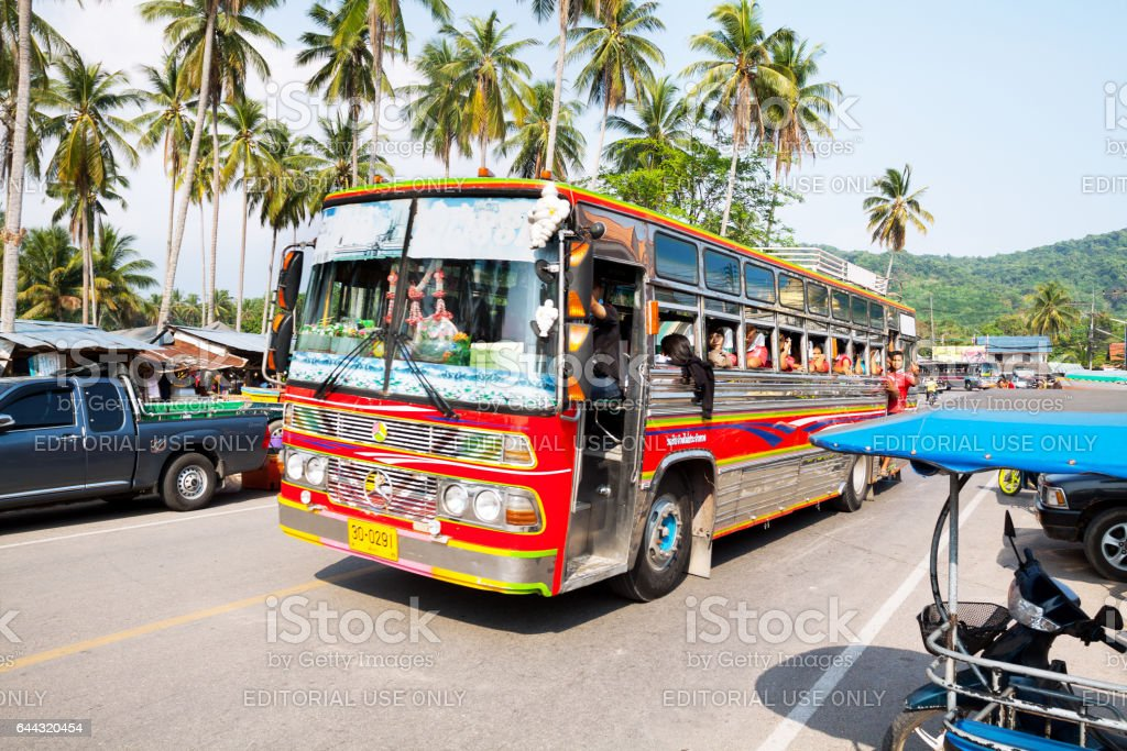 Colorful school bus with students in Ao Nang stock photo
