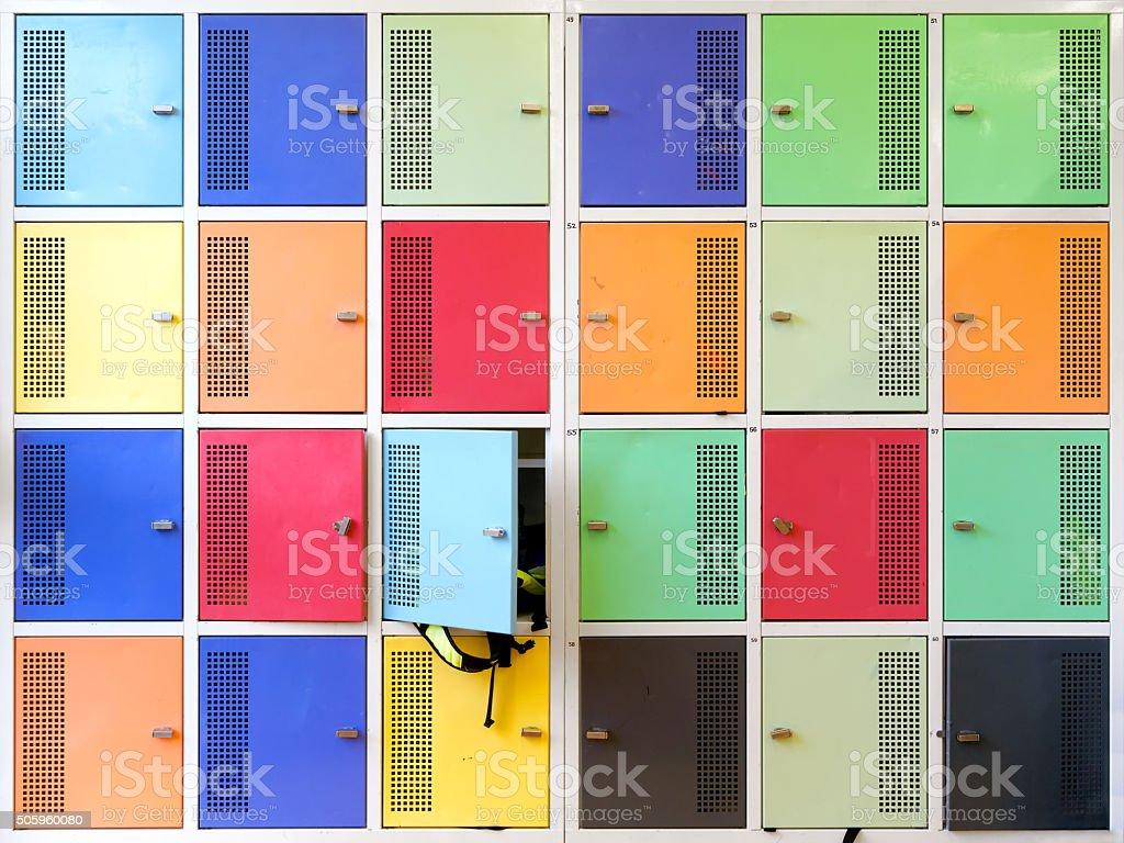 Colorful school lockers stock photo