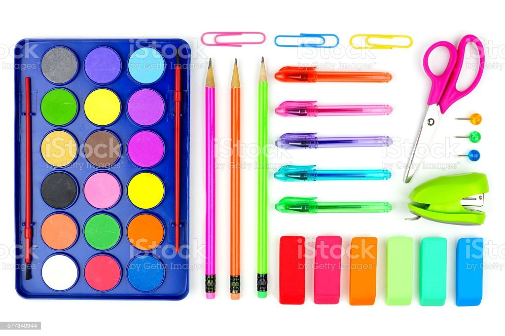 Colorful school supplies on a white background. Above view. stock photo