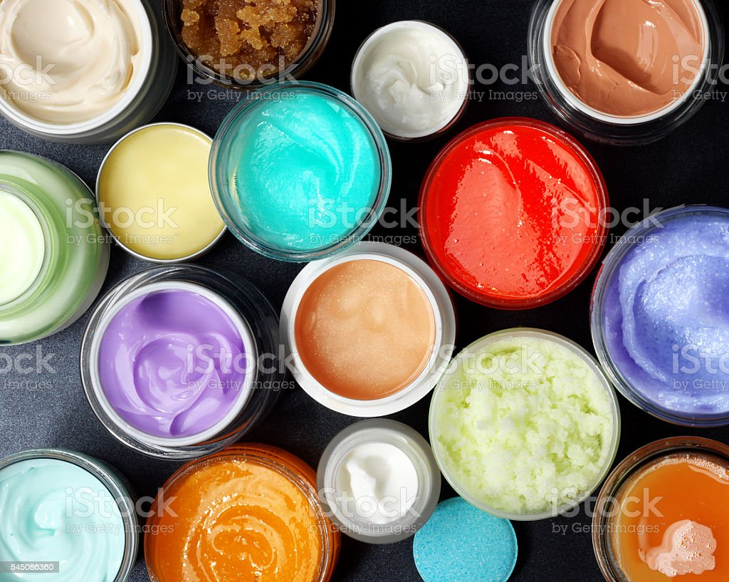 Colorful scrubs and creams stock photo