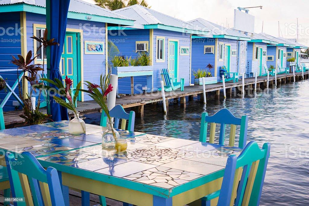 XXXL: Colorful seaside bungalows stock photo