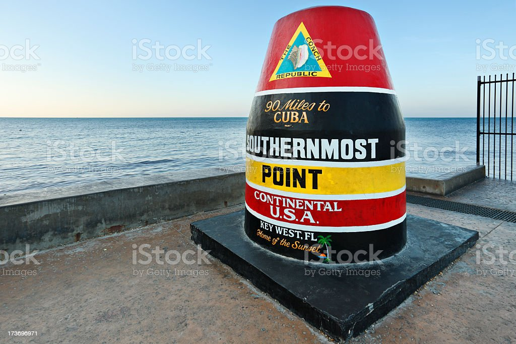 Colorful seaside Key West landmark marks southern tip of USA stock photo